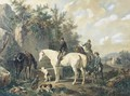 Taking a break horses watering after a hunt - Wouterus Verschuur