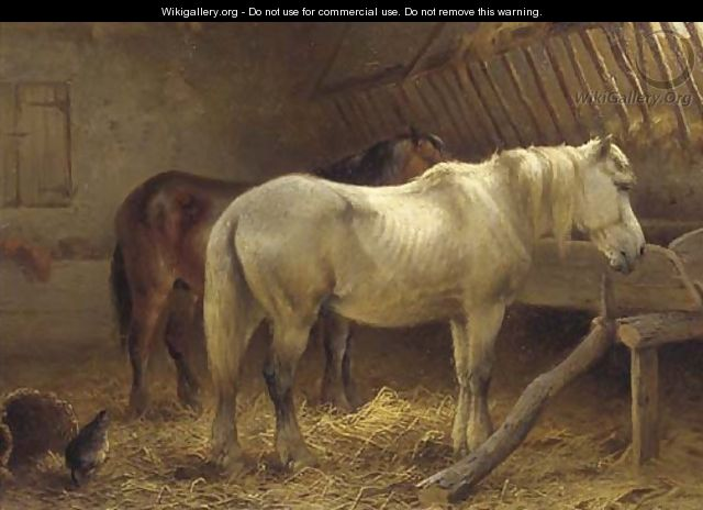 Horses in a stable 3 - Wouterus Verschuur