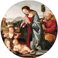 The Holy Family with the Infant Saint John the Baptist, a river landscape beyond - (after) Lorenzo Di Credi