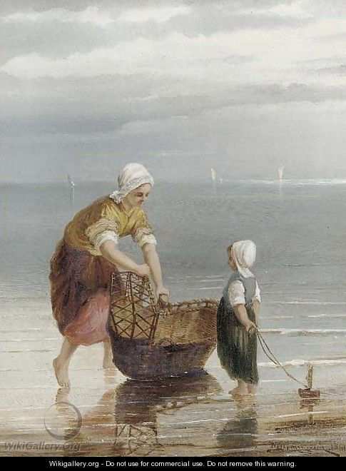 A mother crabbing with her child - William Raymond Dommersen