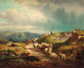 Sheep on a mountain track - William R. Stone