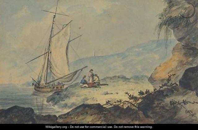 A gaff-rigged cutter in a coastal inlet, Devon - William Payne