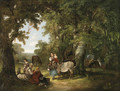 Countryfolk resting in a wooded clearing - William Shayer, Snr