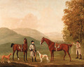 The Hunting Conversation, Two Hunters Held by a Huntsman with a Couple of Hounds in a Landscape - William Shaw
