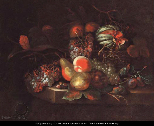 Grapes, pears, peaches, and a melon in a basket, on a stone ledge - William Sartorius