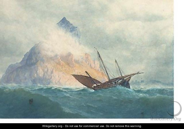 A xebec off a rocky Mediterranean outcrop - William Roxby Beverley