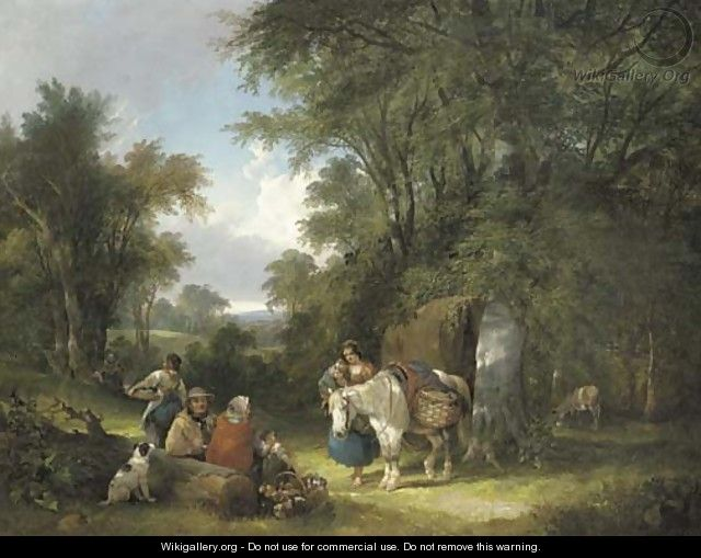 A gypsy encampment in a wooded landscape - William Joseph Shayer