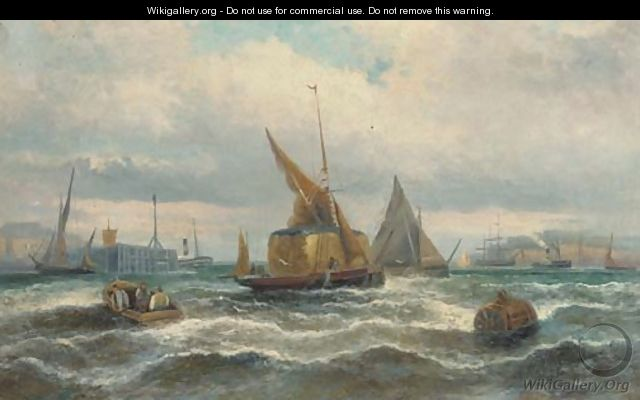 Hay barges and other shipping in the harbour - William A. Thornley or Thornbery