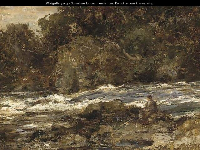 An angler on the bank of a rocky river - William Stewart MacGeorge