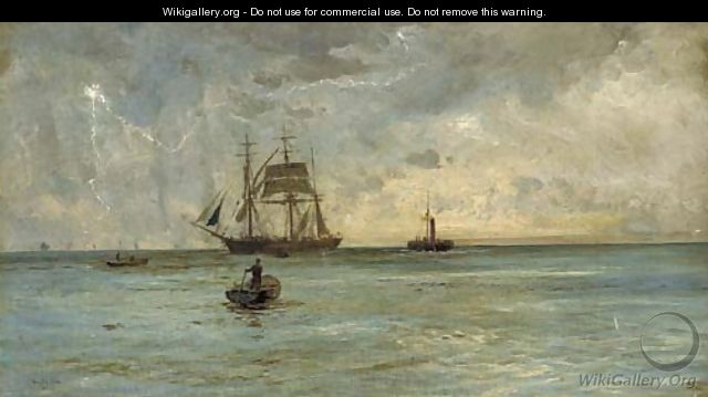 Lightening splitting the sky over a barque and her attendant tug - William Lionel Wyllie