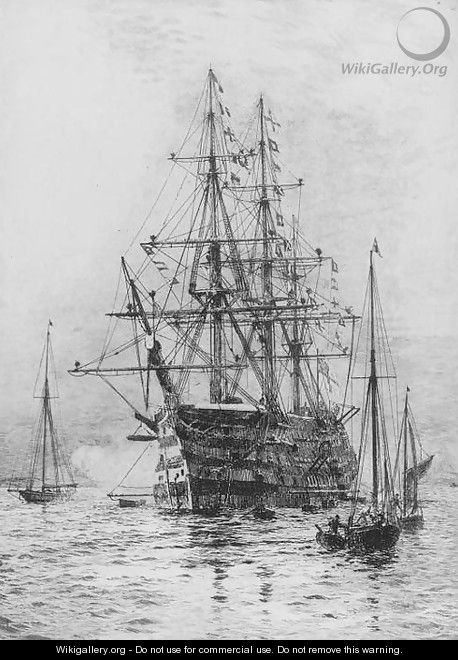 H.M.S. Victory firing a salute (illustrated) - William Lionel Wyllie