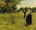 The artist's wife picking flowers - Mark Fisher