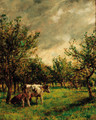 Cattle resting in an orchard - Mark Fisher