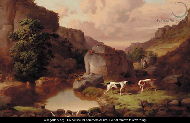 Pointers with a huntsman in a rocky river landscape - William Malbon