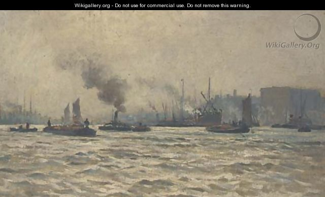 Tugs and other shipping on the Thames - William Lionel Wyllie