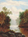A tranquil wooded river landscape - William Mellor