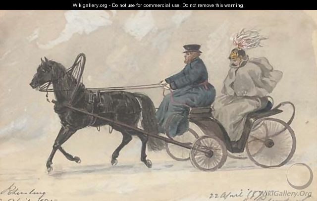 An officer in a horse-drawn carriage, St. Petersburg - William McConnell - WikiGallery.org, the ...