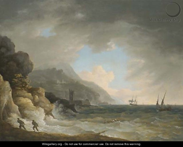 View Of A Bay Near Terracina With Figures And Shipping In Choppy Seas - William Marlow