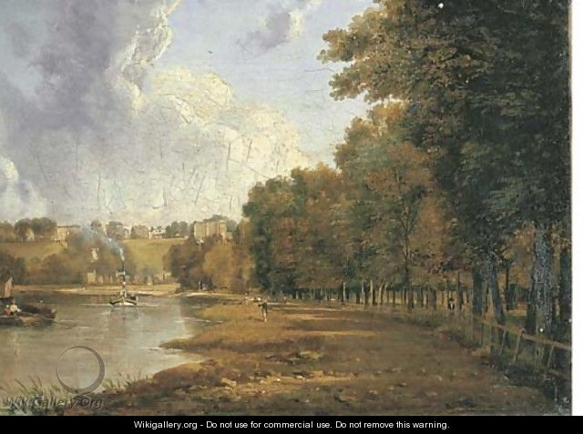 The towpath of the Thames with a view of Richmond Hill beyond - William Marlow