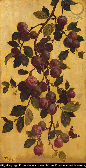 A branch with plums against a gold background - William Hughes