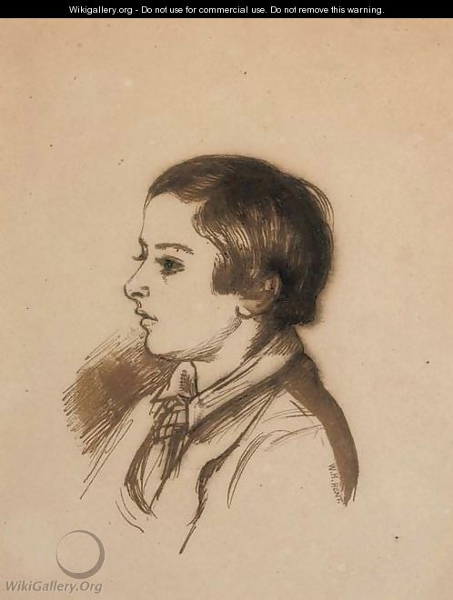 Portrait of Arthur Henry Giles, aged twelve, bust-length - William Holman Hunt