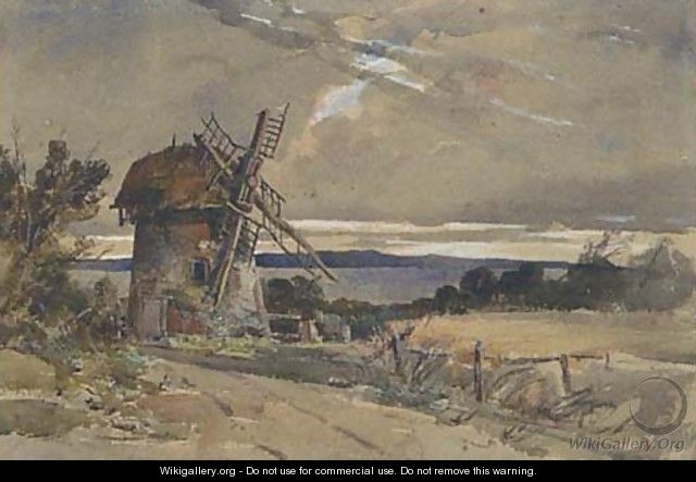 A windmill in an extensive landscape - William James Muller
