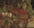 Strawberries, raspberries, grapes, peaches and elderberries in wicker baskets on a stone ledge - William Hughes