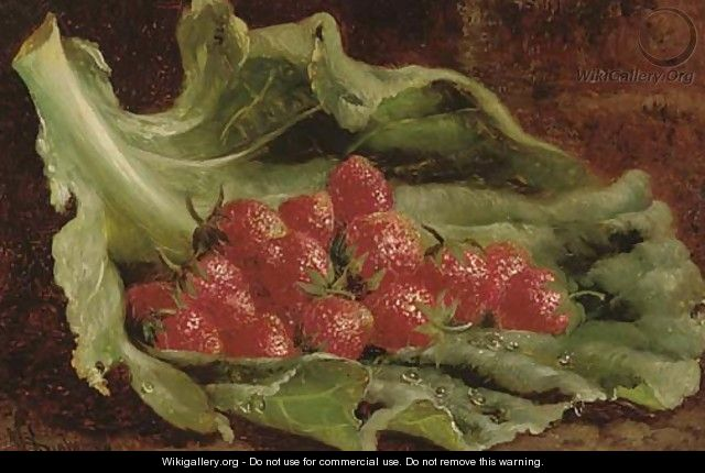Strawberries on a leaf - William Hughes