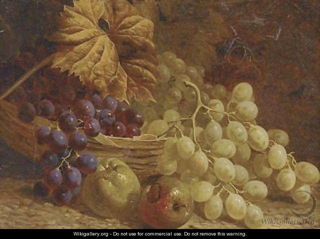 Grapes, apples and a wicker basket - William Hughes