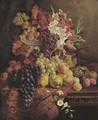 Flowers, fruit, a bullfinch and its nest - William Hughes