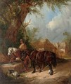 Horses watering at the trough - William Joseph Shayer