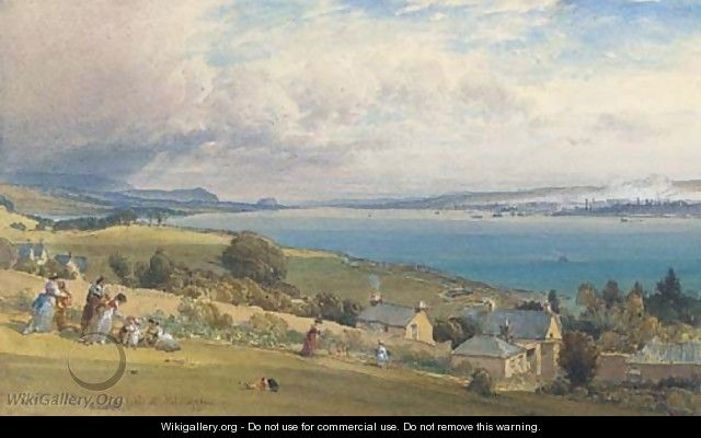 Greenock from Kilcreggan with Dumbarton Rock in the distance - William Leighton Leitch