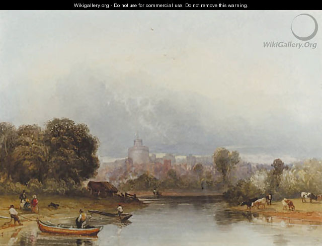 Figures and boats on the Thames below Windsor Castle - William of Eton Evans