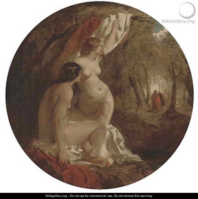 Two Female Nudes In A Wood William Etty