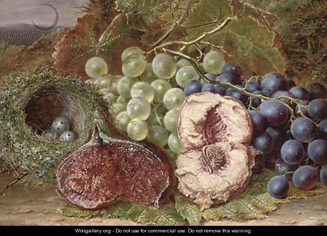 Grapes, a fig, peach and bird