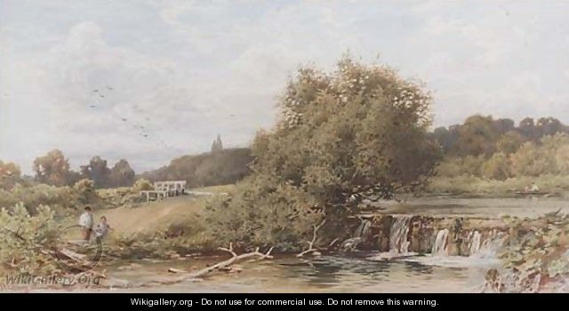 Anglers by a weir - William W. Gosling