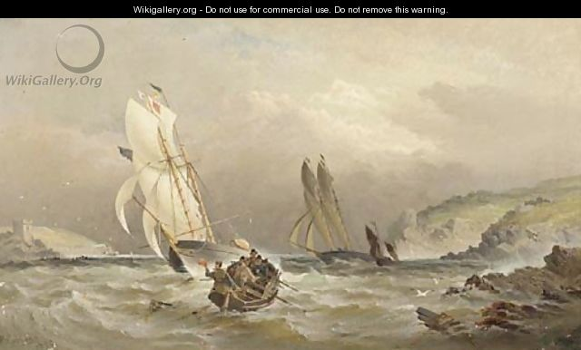 Racing cutters running into the estuary at Dartmouth - William Gibbons