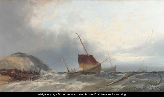Fishing boats heading out from the beach - William Henry Williamson