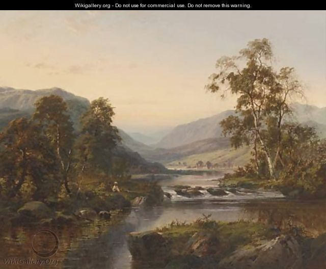 Figures by a river in a mountainous landscape - William Henry Mander
