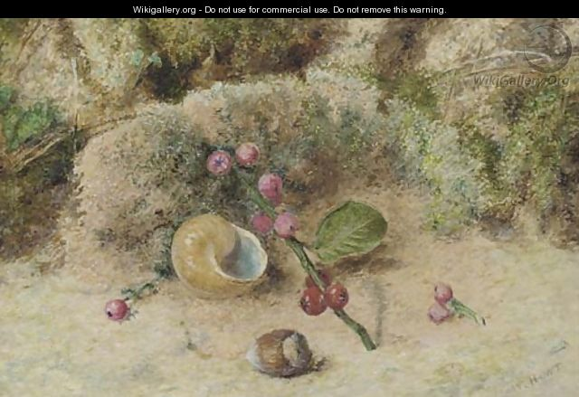 Still life of a shell and berries on a mossy bank - William Henry Hunt