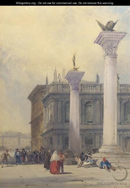Venetian figures gathered around the columns at San Marco square, Venice - William Callow