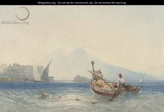 Fishermen dragging in their nets in the Bay of Naples - William Callow