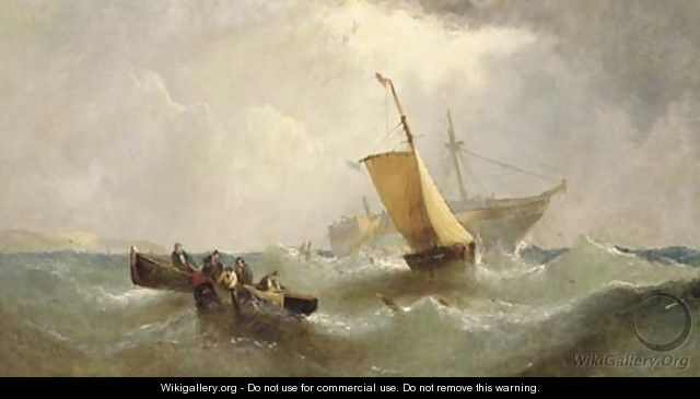 Salvaging the wreck - William Calcott Knell