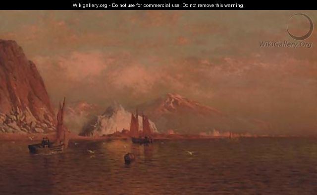 Labrador Mountain and Icebergs by Light of the Midnight Sun - William Bradford