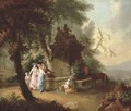 An extensive landscape with elegant company by a fountain in a wooded glade - William Delacour