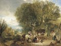 Figures by a cottage in an extensive wooded landscape - William Collins