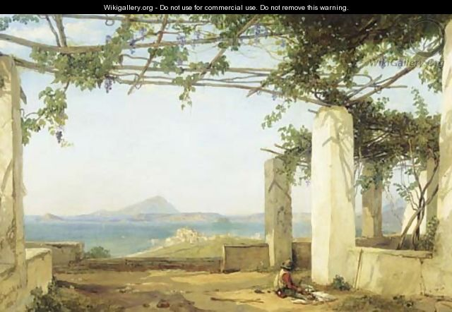 Under the vines view on the Bay of Naples with the Castle of Ischia - William Clarkson Stanfield