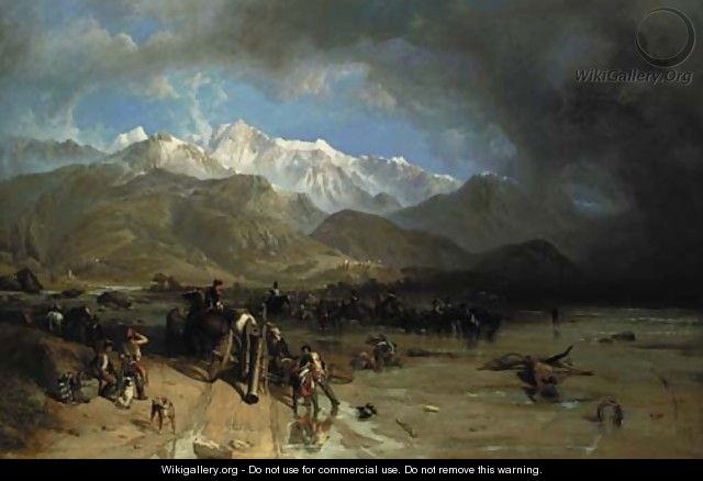 French Troops (1796) fording the Margra - Sarzana and the Carrara Mountains in the distance - William Clarkson Stanfield