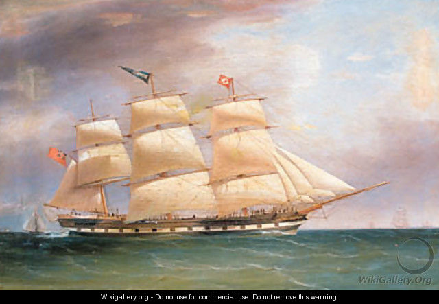 Portrait of the Full rigged Ship Bombay in full Sail - William Clark Of Greenock