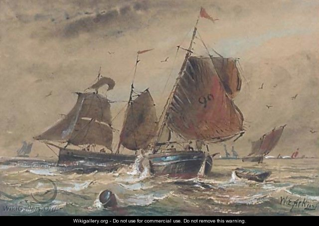Fishing boats in close quarters in the Channel - William Edward Atkins